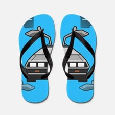 blue Delorean Flip Flops