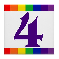 RAINBOW HOUSE NUMBER TILES Tile Coaster