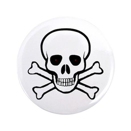 "Skull and Crossbones 3.5"" Button"