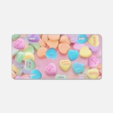 valentines candy hearts Aluminum License Plate