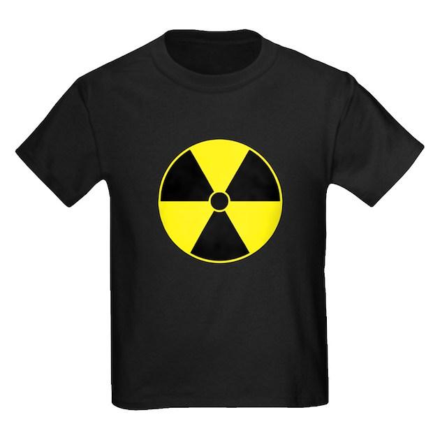 Water Bottle Sign Radiology: Radiation Symbol (yellow) Kids Dark T-Shirt Radiation