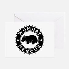 Wombat Rescue B&W Crest Greeting Card