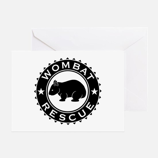 Wombat Rescue B&W Crest Greeting Card