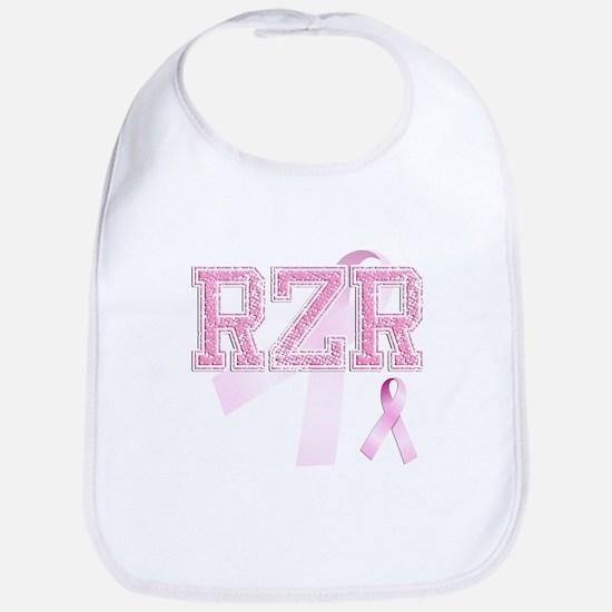 RZR initials, Pink Ribbon, Baby Bib