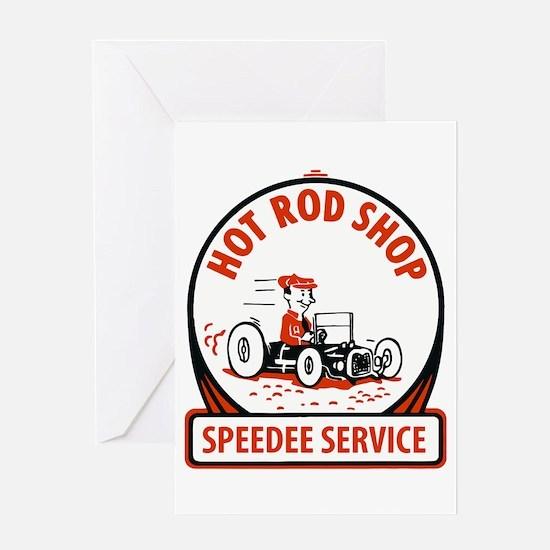 Hot Rod Shop Cartoon Greeting Cards