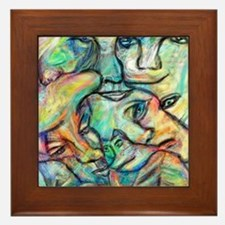 Abstract Art Distorted Faces Framed Tile