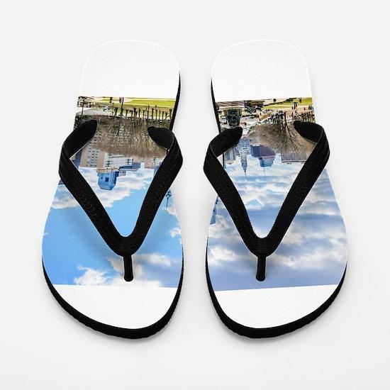 Philadelphia cityscape skyline view Flip Flops