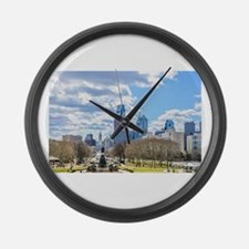 Philadelphia cityscape skyline vi Large Wall Clock
