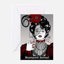 Steampunk Damsel Victorian Illustration card Greet