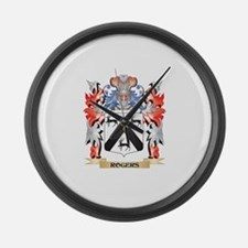 Rogers Coat of Arms - Family Cres Large Wall Clock