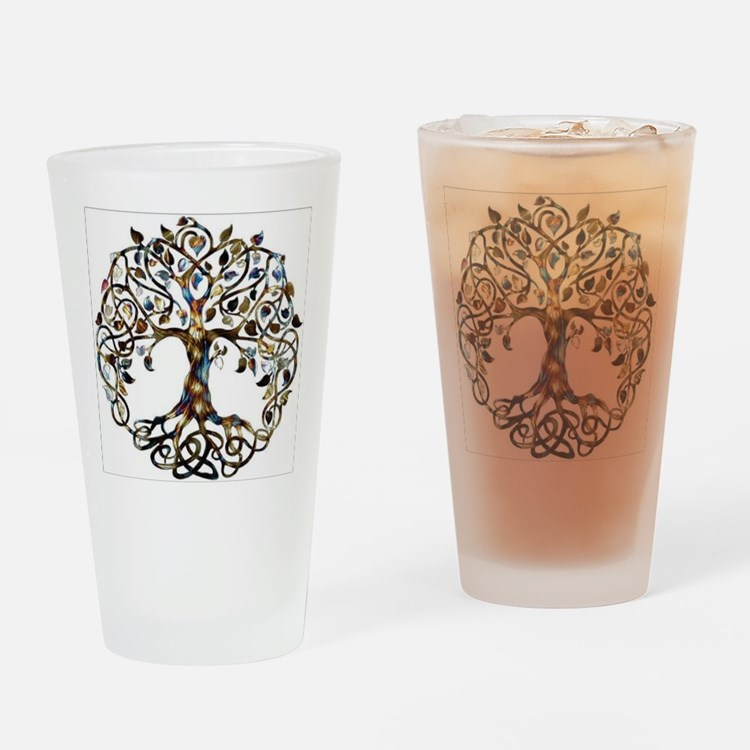 Brown_Tree_Of_Life Drinking Glass