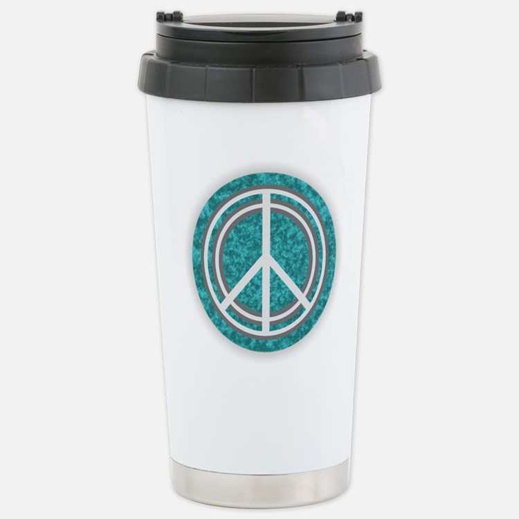 Turquoise Peace Sign Stainless Steel Travel Mug