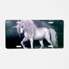 Wonderful unicorn on the beach Aluminum License Pl