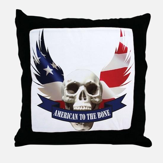 American to the Bone Skull Throw Pillow