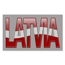 """Latvia Bubble Letters"" Rectangle Decal"