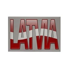 """Latvia Bubble Letters"" Rectangle Magnet"