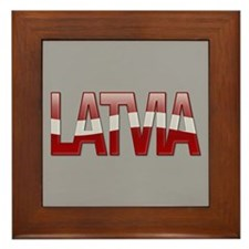 """Latvia Bubble Letters"" Framed Tile"
