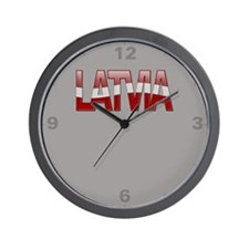 """Latvia Bubble Letters"" Wall Clock"
