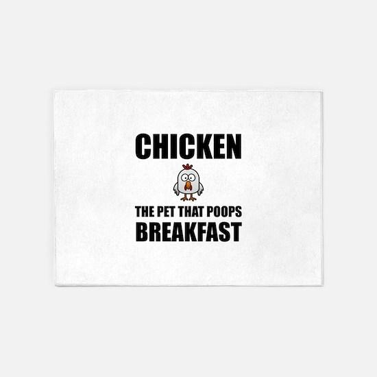 Chickens Poop Breakfast 5'x7'Area Rug