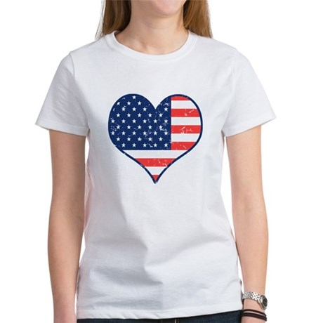 Patriotic Heart with Flag Women's T-Shirt