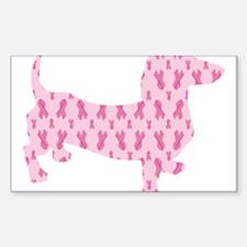 Pink Ribbon Cancer Doxie Decal