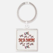 Love Love Salsa Dancing Square Keychain