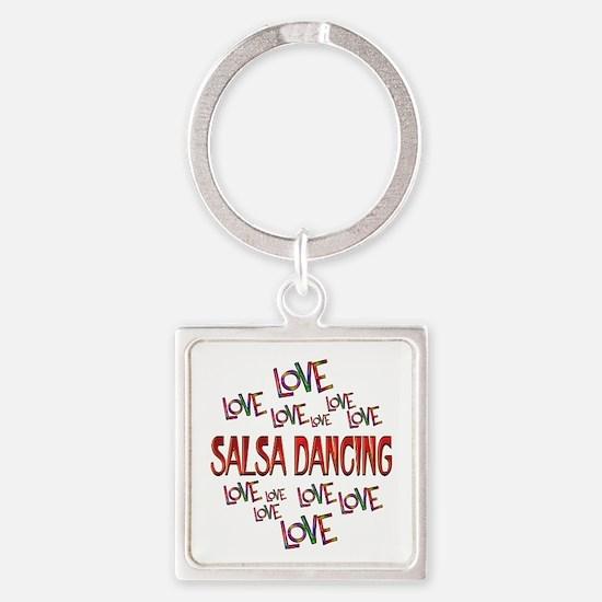 Love Love Salsa Dancing Square Keychain