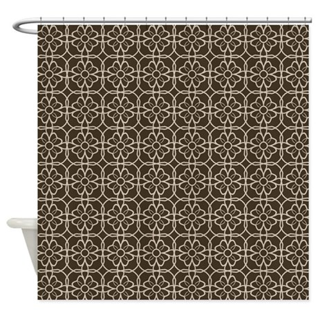 Brown Beige Flourish Pattern Shower Curtain By Colors And Patterns II