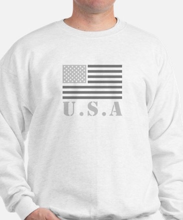 Gray USA Flag Sweatshirt
