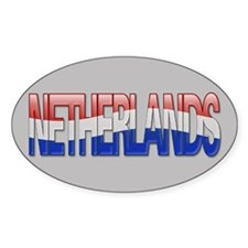 """""""Netherlands Bubble Letters"""" Oval Decal"""