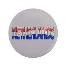 """Netherlands Bubble Letters"" 3.5"" Button"