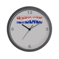 """""""Netherlands Bubble Letters"""" Wall Clock"""