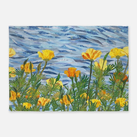 California Poppies 2 5'x7'Area Rug
