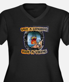 Save a Longboat Ride a Viking Women's Plus Size V-