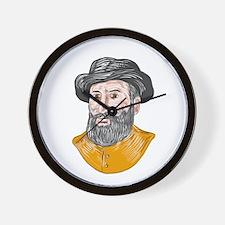 Ferdinand Magellan Bust Drawing Wall Clock