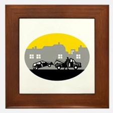 Tow Truck Towing Car Buildings Oval Woodcut Framed