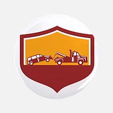 Tow Truck Towing Car Shield Retro Button