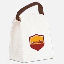 Tow Truck Towing Car Shield Retro Canvas Lunch Bag