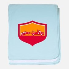 Tow Truck Towing Car Shield Retro baby blanket