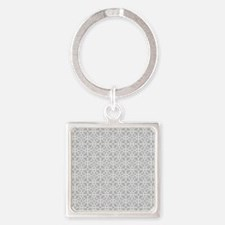 Grey Flourish Pattern Square Keychain