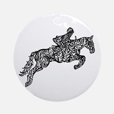 Doodle artwork of horse jumping wit Round Ornament