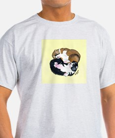 """Yin-Yang"" Pembroke Welsh Corgi Puppies Ash Grey T"