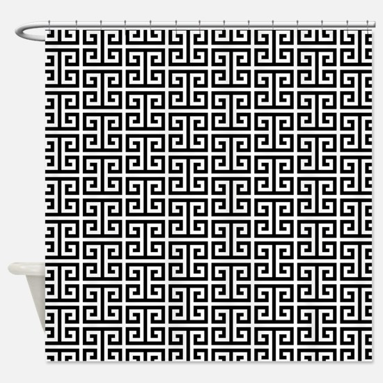 Black and White Greek Key Shower Curtain