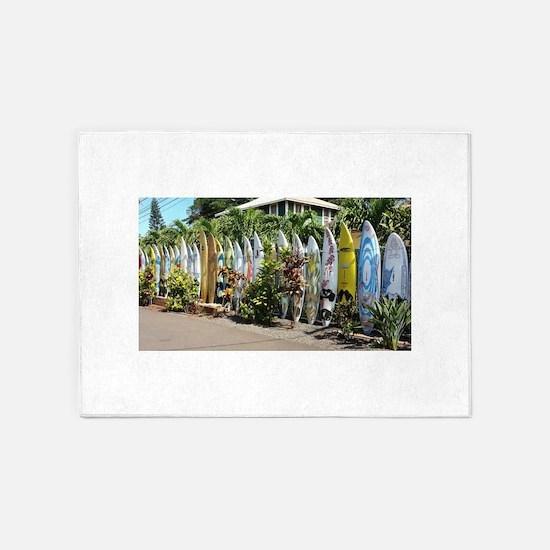Surf board fence on Maui 5'x7'Area Rug