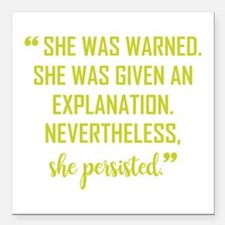 """SHE PERSISTED Square Car Magnet 3"""" x 3"""""""