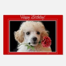 Birthday Poodle puppy Postcards (Package of 8)