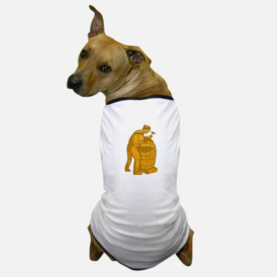 Cooper Making Wooden Barrel Drawing Dog T-Shirt