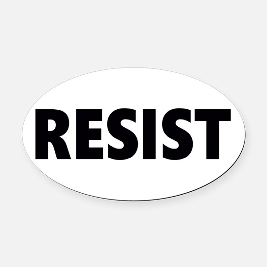 Resist 2 Black Oval Car Magnet