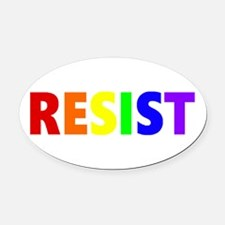 Resist 2 Rainbow Oval Car Magnet