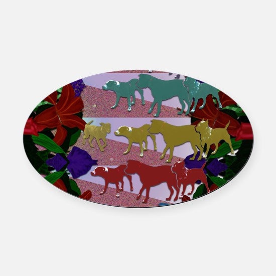 Cute Labrador playing Oval Car Magnet